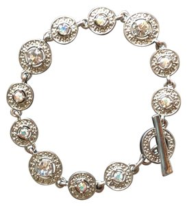 Silver-tone bracelet with crystal stones