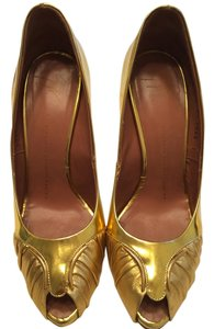 Giuseppe Zanotti Leather Heels Gold Pumps
