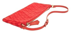 Valentino V-fabric Leather Strap Red Clutch