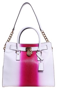 Michael Kors Ombre Leather Casual Resort Silver Hardware Tote in white/pink