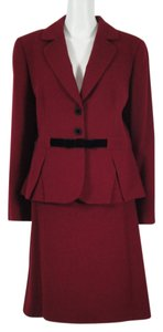 Tahari Tahari A S L - 2 Pc Blazer Jacket Skirt Red Herringbone 16 New With Tags