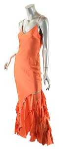Roberto Cavalli Silk Satin Spaghetti Strap Bias Cut Dress