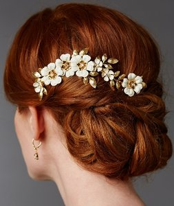 Mariell Hand Enameled Gold Tea Rose Bridal Comb