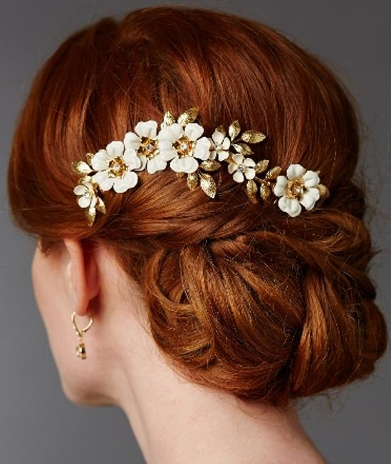 Item - Gold/Ivory Hand Enameled Tea Rose Comb Hair Accessory