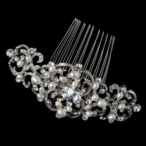 Elegance by Carbonneau Silver/Ivory. Art Deco Freshwater Pearl Comb Hair Accessory