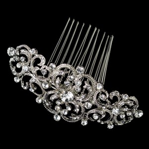 Elegance By Carbonneau Art Deco Rhodium Plated Wedding Comb
