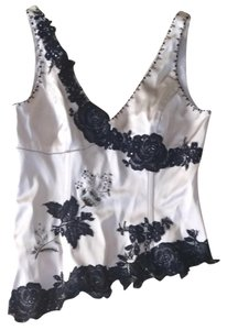 Adrianna Papell Top Beige/ Black lace