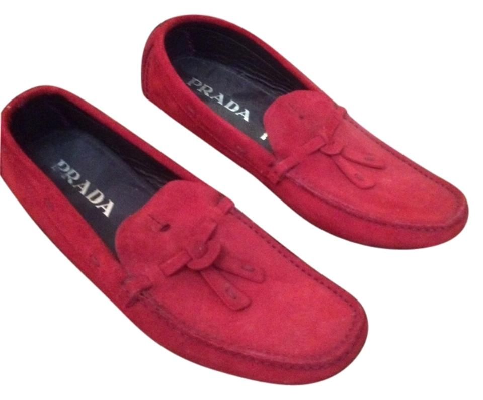 WOMENS Prada Red to Loafers Drivers Flats Easy to Red clean surface cb478b