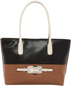 Guess 16 W X 11 H X 5 D Inches Tote in Brown & Black