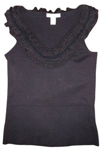 White House | Black Market Silk Sleeveless Ruffle Sweater