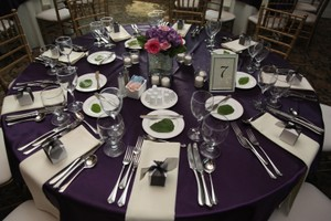 Wedding Linens Direct Eggplant Table Overlays (25) Tablecloth