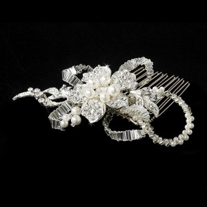 Silver Diamond White Pearl Comb Hair Accessory