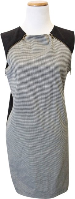 Robert Rodriguez Houndstooth Faux Suede Black And White Shift Dress