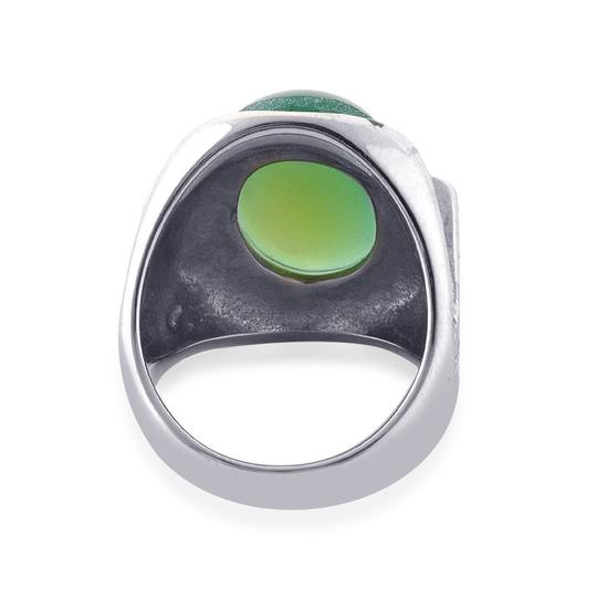 Unknown Green Agate, White Austrian Crystal Ring