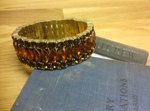 J.Crew Brown Crystal Rhinestone Stretch Bracelet