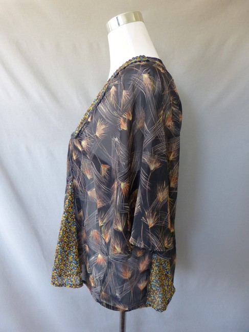 Love, Fire Sheer Bohemian Batwing Floral Leaf Top