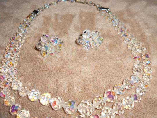 Ab Crystal/Silver Glittery Vendome Laguna Earrings and Necklace Jewelry Sets