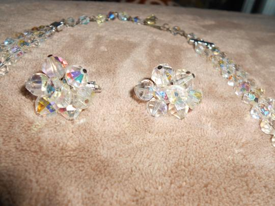 Ab Crystal/Silver Glittery Vendome Signed Laguna Earrings and Necklace Jewelry Set