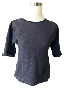Zara Denim Metallic Top blue