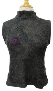 Dries van Noten Floral Embellished Mohair Knit Top Black