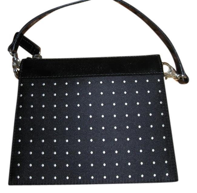 Item - Black with White Cotton Blend Clutch