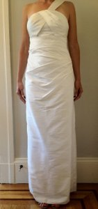 Ivory Silk Dupioni Phoebe Couture By Kay Unger Gown Feminine Wedding Dress Size 4 (S)