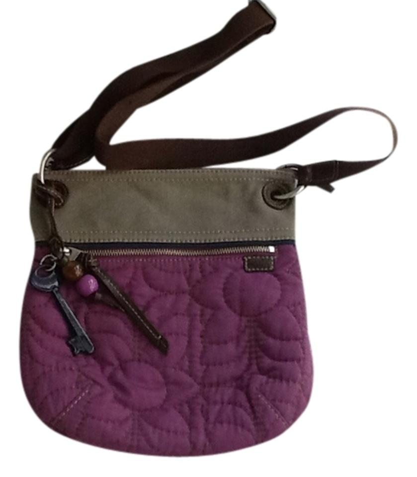 965ae3a4c6c0 Fossil Key-per Eggplant Purple and Grey Quilted Fabric Canvas Cross Body Bag