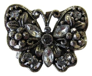 OTHER SILVER TONE BUTTERFLY RING W/ RHINESTONES