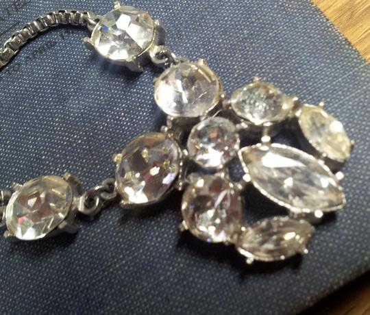Retro 40's 50's Art Deco Crystal Rhinestone Bib Statement Pendant Necklace