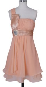 Peach Chiffon One Shoulder Pleated W/ Rhinestones Modest Bridesmaid/Mob Dress Size 4 (S)