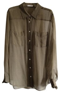 Equipment Button Down Shirt Black/Tan Houndstooth Print