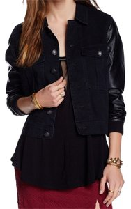 Free People Denim Fall Leather Black Womens Jean Jacket