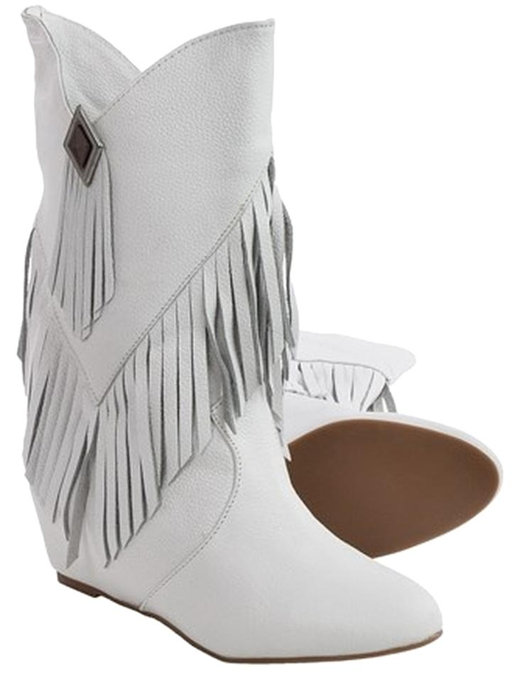 0b13c6900e9 Obsession Rules White Western Cowboy Leather Suede Fringe Wedge Heel  Boots/Booties Size US 9.5 Regular (M, B) 63% off retail
