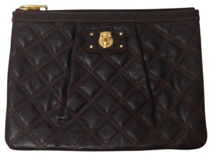 Marc Jacobs Mj Quilted Dark Brown Clutch