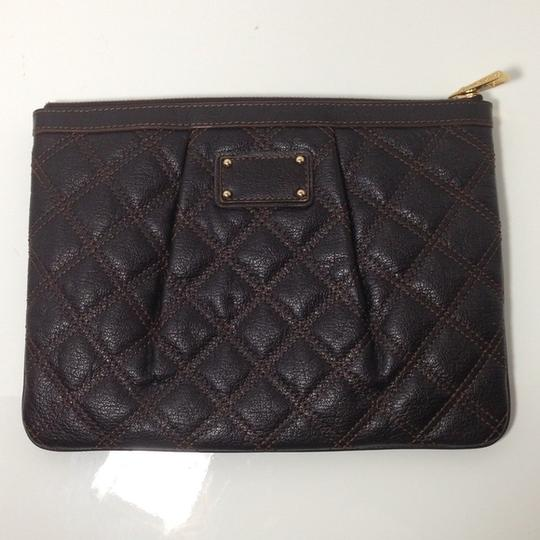 Marc Jacobs Mj Quilted Pouch Dark Brown Clutch