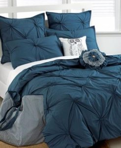Republic Tufted Square 6 Piece Twin Comforter Set Blue Round Pillow & Embroidery In A Bag Set