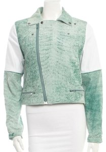Timo Weiland Moto Mint and white Leather Jacket