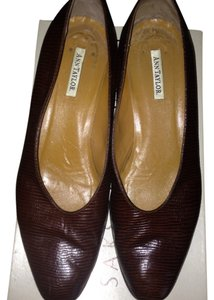 Ann Taylor Faux Lizard Leather Flats Work brown Pumps
