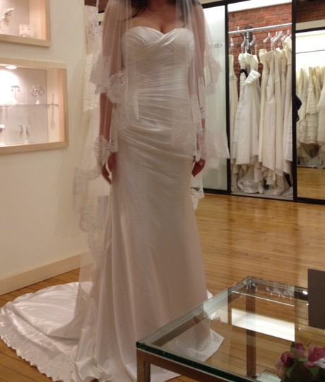 Cymbeline Paris White Charmeuse Feminine Wedding Dress Size 8 (M)