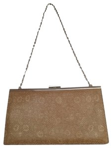 J.Crew Clutch Bag] Handbag Tan Leather Embossed Reptile Italy Shoulder Bag