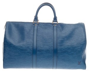 Louis Vuitton Weekend Blue Travel Bag