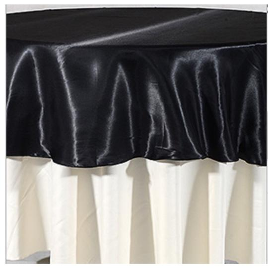"Black Lot Of 8- 90"" Satin Round Tablecloths"