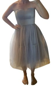 Aéropostale Satin Tea Length Strapless Tulle Prom Dress