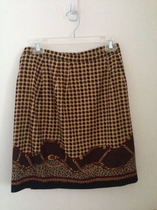 Talbots Skirt Brown, Houndstooth, Leopard, Black, Chain, Beige, Gold