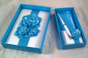 Turquoise and White Matching Guest Book Pen Set Other