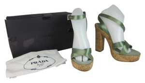 Prada Cork Platform Leather Sandals
