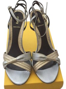 Fendi Metallic Gold and Silver Sandals