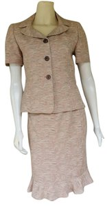 Le Suit LE SUIT Beige Textured Career Skirt Suit 4P Petite 4
