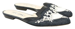 Oscar de la Renta Embroidered Size 8 Denim, Black and White Mules