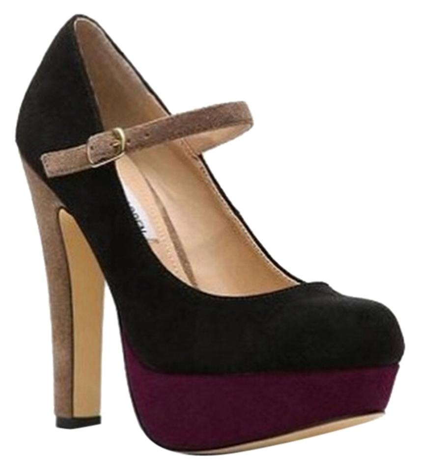 f0f59b7048a Steve Madden Color-blocking Taupe Purple Magenta Black Suede Strap Chunky  Heels Pumps Mary Jane